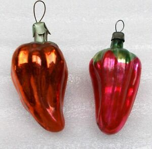 2 Vintage Russian Glass Christmas X-mas Tree USSR Ornament Decorations Peppers