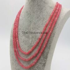 """Natural 2x4mm Pink Morganite Faceted Beads Necklace 3 Strsand 17-19"""" AAA+"""