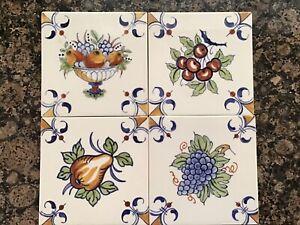 """Royal Delft De Porceleyne Fles (4) Hand Painted Signed 5.5"""" x 5.5"""" Tile"""