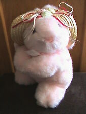 "10"" PINK BUNNY PLUSH WITH STRAW HAT"