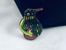 Artisan Green & Black Enamel Penguin Bird Brooch