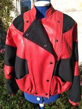Iconic 80's Vintage Jacket leather/canvas mix Sz12 Fame/Thriller/Disco