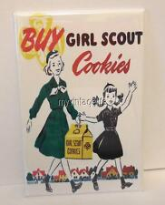 "Vintage BUY GIRL SCOUT COOKIES  2"" x 3"" Fridge MAGNET Art SCOUTING"
