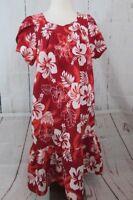 Vintage Ali'i Fashions Small Hawaiian Red Floral Muumuu Tropical