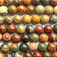 Red Creek Jasper Round Red Rust Green 8mm Semi Precious Stone Beads Q1 Strand