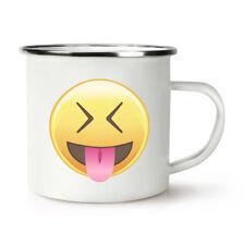 Langue yeux fermés emoji rétro émail tasse