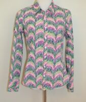 Lilly Pulitzer Womens Button Up Pink Blue Green Patterned dress shirt Size 8