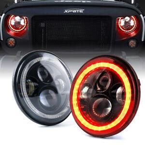 "7"" 90W LED Headlights Projector w/ Red DRL Angel Eyes for Jeep JK JL LJ TJ YJ"