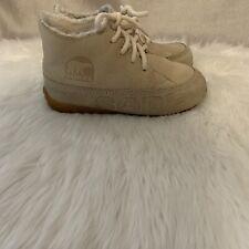 Sorel Naknek Drift Beige Leather Ankle Boots Women's Size 6 Pre-Owned Good