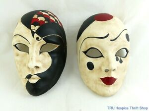 Papier Mache Masks Hand Made in Venice, Italy, Near Mint Condition-Set of Two