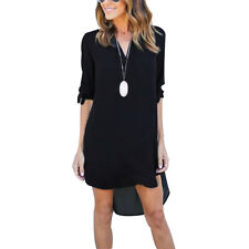 Womens Casual Long Sleeve V-Neck Blouse Oversize Loose Chiffon T Shirt Top Dress