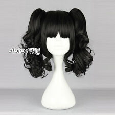 Lolita Black 35CM Short Fashion Cosplay Harajuku Wig + 2 Curly Ponytails