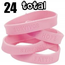 Lot of 24 Breast Cancer Pink Rubber Sayings Bracelets