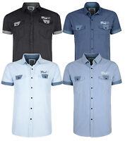 Smith & Jones Men's New Short Sleeve Stripe Pattern Shirt Sky Black Light Blue