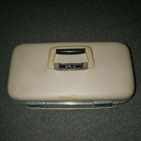Vintage Airway Hard Makeup Train Case with Cloth Linings Beige No tray Nice
