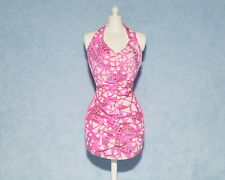 PINK Abstract Pattern On White Genuine BARBIE Bunched Sleeveless Party Dress