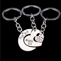 3pcs/set Big Sis Middle Sis Little Sis Keychain Love Heart Sister Key Chain