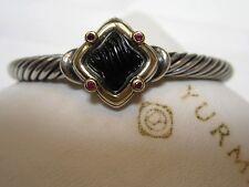 David Yurman 5mm Carved Onyx Ruby Quatrefoil Sterling Cable 18k Bracelet