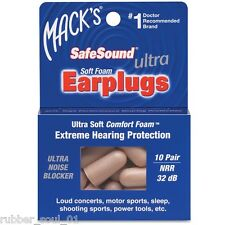 Macks Ultra SafeSound Bouchons D'oreilles Mousse x 10 Paire