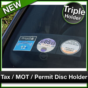 Car Van TAX / MOT / NCT / PARKING PERMIT / INSURANCE DISC HOLDER Black TRIPLE