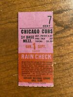 1957 Chicago Cubs vs St Louis Cardinals Ticket At Wrigley Field Ernie Banks
