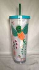 Starbucks Quetzel Bird Flower Acrylic Cold Cup 24 Oz 2017 BPA Free