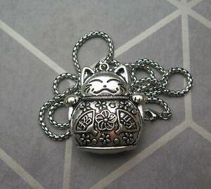 Large Titanium Maneki Neko Lucky Cat Pendant Necklace
