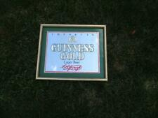 Rare Imported Guinness Gold Mirrored Bar Sign Decor Lager Ireland Beer