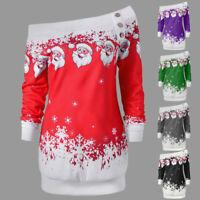 Brief Women Merry Christmas Santa Snowflake Print Tops Long Sleeve Blouse C73