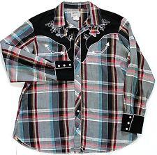H Bar C California Ranchwear Pearl Snap Shirt Mens Plaid XL Embroidered L/S VTG