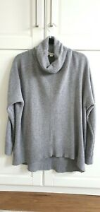 Whistles Dipped Back Roll Neck Jumper Grey Marl Longline Size Small RRP £120