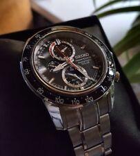 Seiko Sportura Solar Perpetual Chronograph Alarm Sapphire Sports Watch! NEW