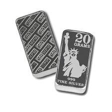 2 - 20  Gram 999 Fine Silver Bars - Monarch - Statue of Liberty- Uncirculated
