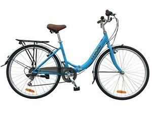 "Ecosmo 26"" Wheel Folding Ladies Women City Bicycle Bike 7 SP, 17"" -26ALF08B"