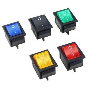 10 x Rocker Switches, ON-OFF , Rectangular, 4 Pins, 16A 250V AC ,DPST UK