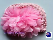 Infant Baby Girls Kids Pink Flower Crochet KUFI Knit Beanie hat Cap Prop 3-12mth