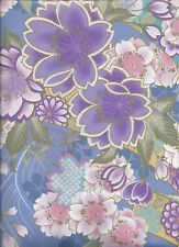 Fabric #2392, Asian Floral Sateen Pink Blue Lavender Kona Bay Sold by 1/2 Yard