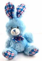 "Light Blue Bunny Rabbit Plush 9"" Checkered Plaid Stuffed Animal"