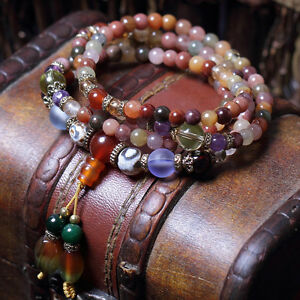 Natural Colorful Crystal Quartz Beads Buddhist Prayer Mala Bracelet Necklace
