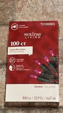 Holiday Living 100 ct Purple mini lights Great Solid color elegance! #0106663