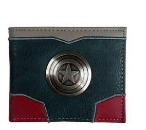 Captain America Faux Leather Suit Bi Fold Wallet With Metal Shield Logo