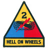 """US ARMY 2nd Armored Division """"HELL ON WHEELS""""  4 inch patch"""