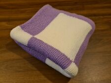 Vintage Knitted Blanket Hand Made Purple and White Checked crochet