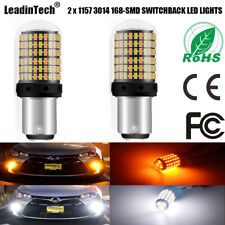 2x 1157 Switchback LED Bulb BAY15D 3014 168 SMD Yellow White Light High Power