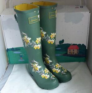Joules 214784 Welly Print Khaki Floral Green Tall Height Wellington Wellies Sz 3