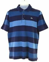 LACOSTE Mens Polo Shirt Size 4 Small Blue Striped Cotton  JV28