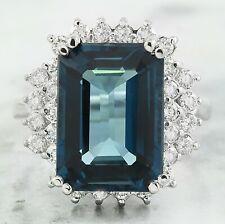 9.70 Carat Natural Topaz 14K White Gold Diamond Ring