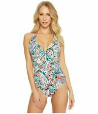 """RALPH LAUREN $100 """"Cabana"""" SLIMMING* One-Piece Swimsuit (Size 14) Large NWT"""