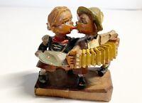 Vintage German Hand Carved Wooden Singing Kissing Music Figurines