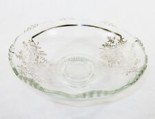 "11"" Silver Overlay Glass Bowl ~ Hobnail Base & Raised Bubble Rim, Floral Pattern"